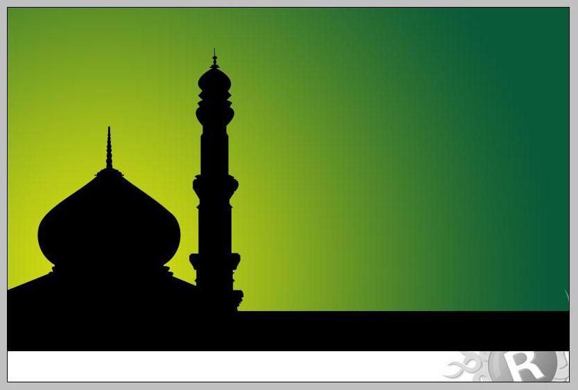 Tambahkan sinar di belakang kubah masjid.